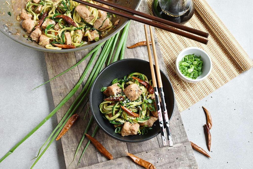 How to serve One Pot Kung Pao Chicken Zoodles