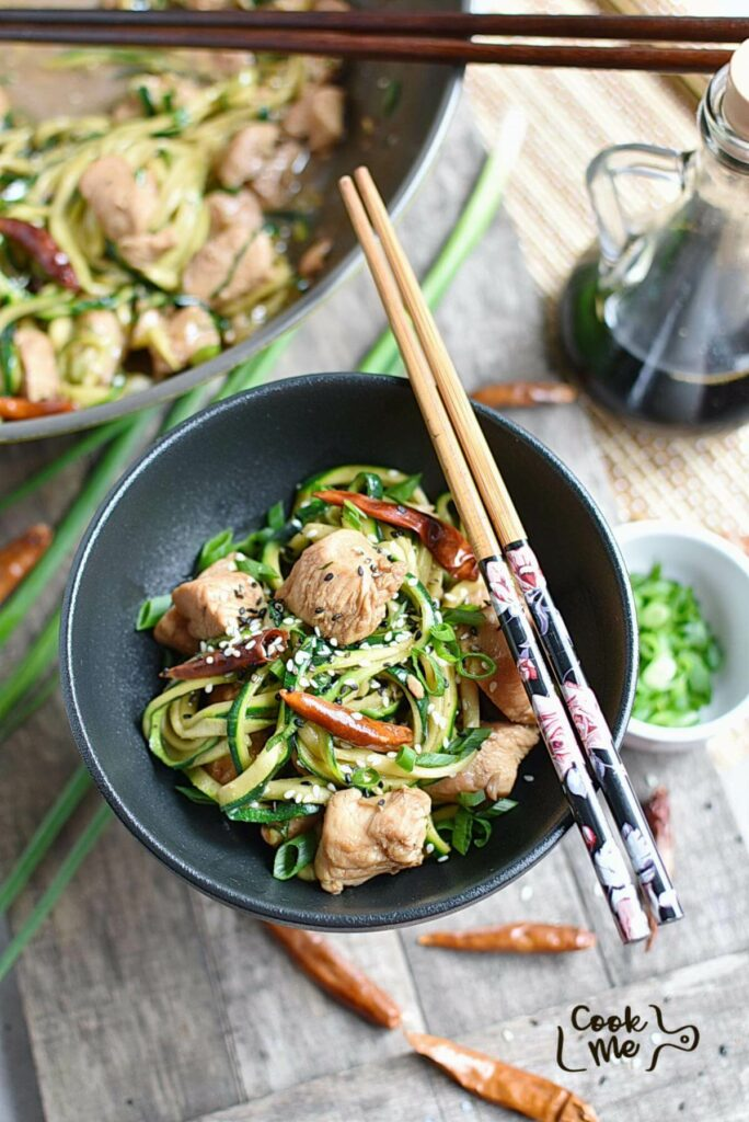 One Pot Kung Pao Chicken Zoodles