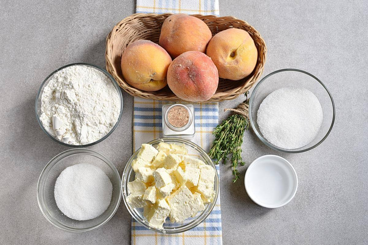 Ingridiens for Peach Tart with Thyme Sugar
