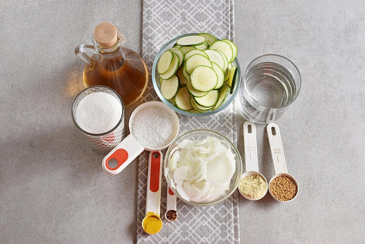 Ingridiens for Sweet and Spicy Zucchini Refrigerator Pickles
