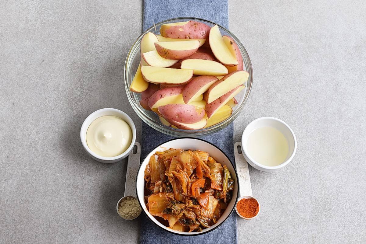 Ingridiens for Vegan Kimchi Fries