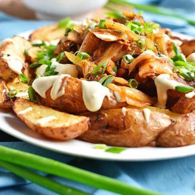 Vegan Kimchi Fries Recipes– Homemade Vegan Kimchi Fries– Easy Vegan Kimchi Fries