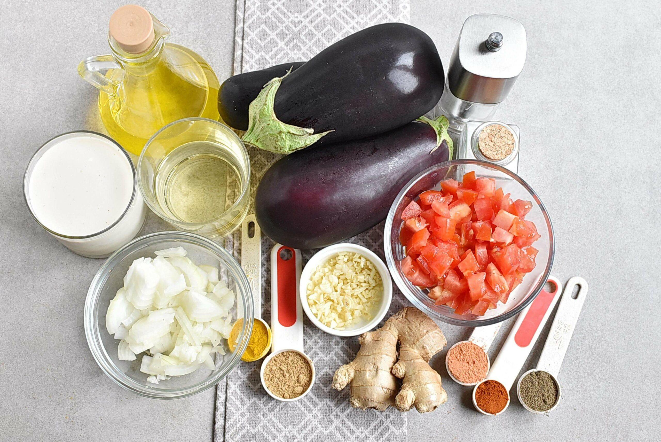 Ingridiens for Vegan Roasted Eggplant Curry
