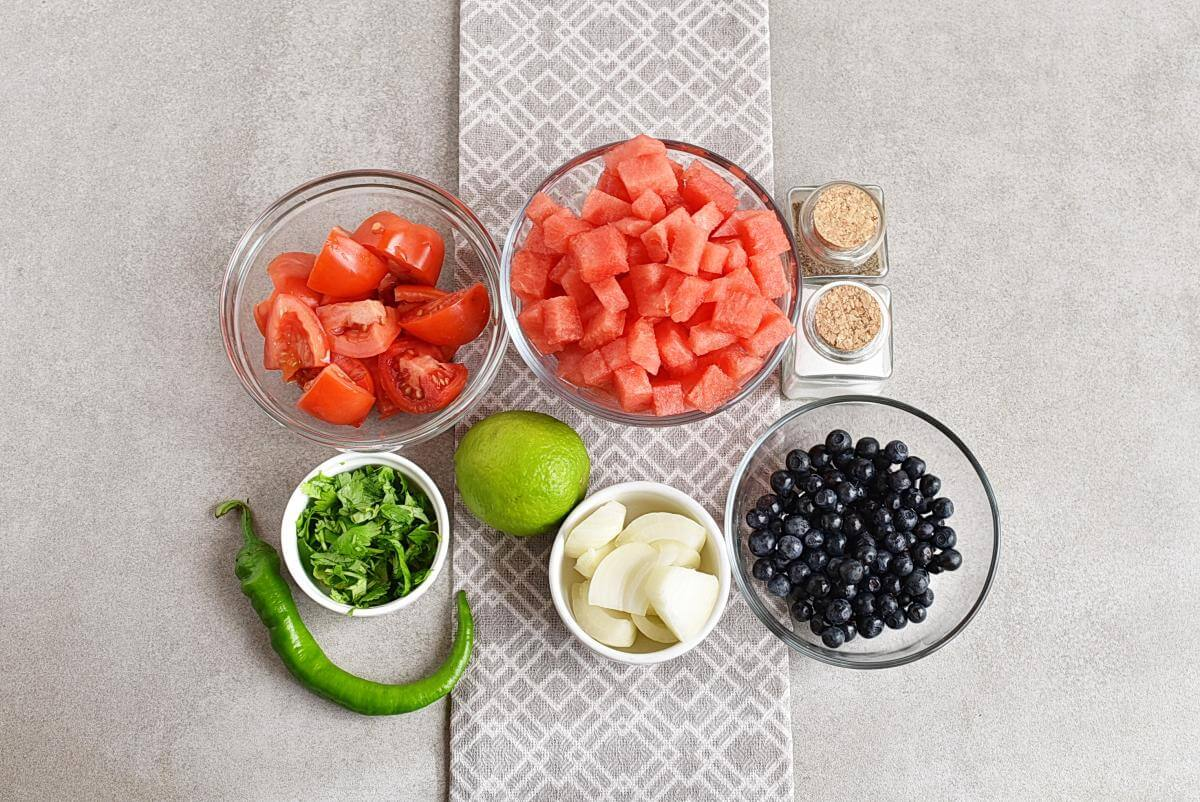 Ingridiens for Watermelon Blueberry Salsa