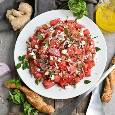 Watermelon Salad with Basil-Ginger Dressing Recipes– Homemade Watermelon Salad with Basil-Ginger Dressing– Easy Watermelon Salad with Basil-Ginger Dressing