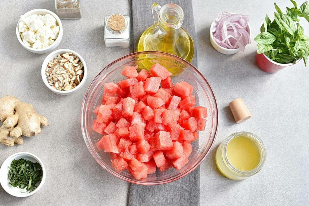 Watermelon Salad with Basil-Ginger Dressing recipe - step 1