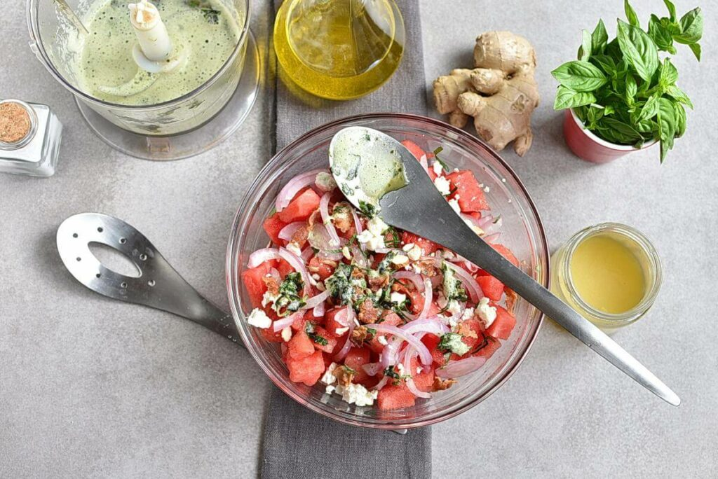 Watermelon Salad with Basil-Ginger Dressing recipe - step 6