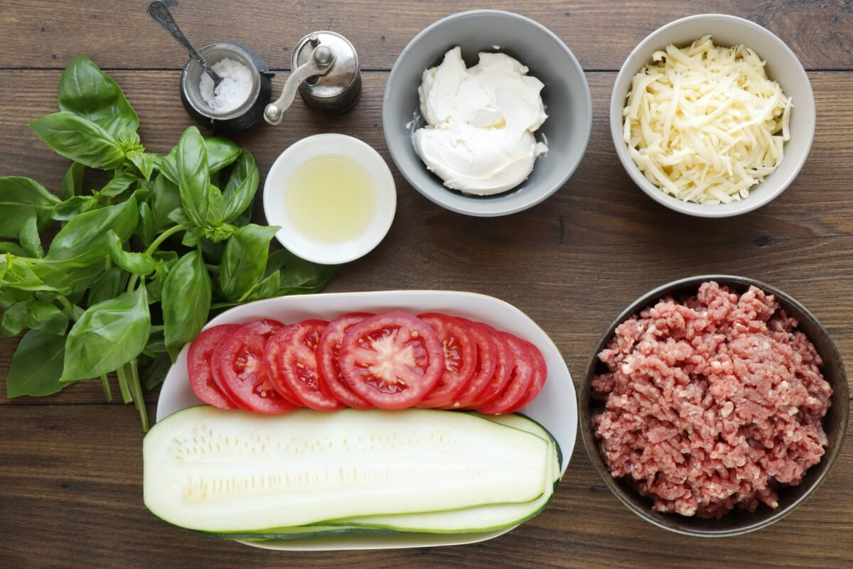 Ingridiens for Keto Zucchini Lasagna