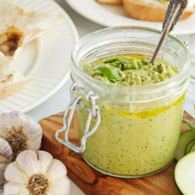 Zucchini Pesto Recipe-Healthy Zucchini Basil Pesto-Vegan Pesto-Dairy Free Pesto-Walnut Basil Pesto