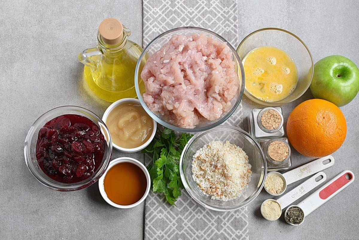 Ingridiens for Apple Cranberry Turkey Meatballs