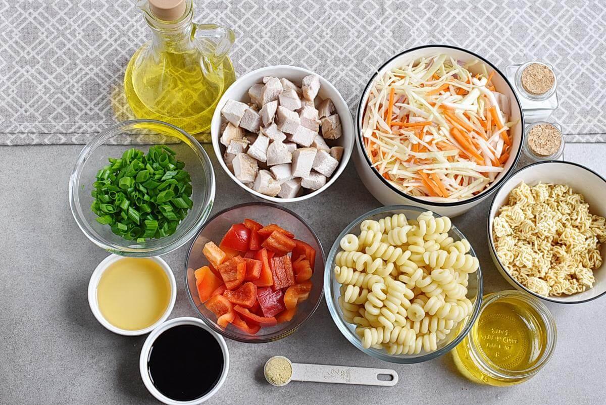 Ingridiens for Asian Chicken Crunch Pasta Salad