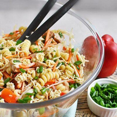 Asian Chicken Crunch Pasta Salad Recipes– Homemade Asian Chicken Crunch Pasta Salad–Easy Asian Chicken Crunch Pasta Salad