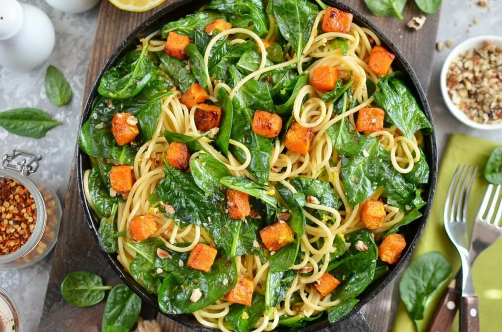 How to serve Butternut Squash, Spinach and Walnut Spaghetti