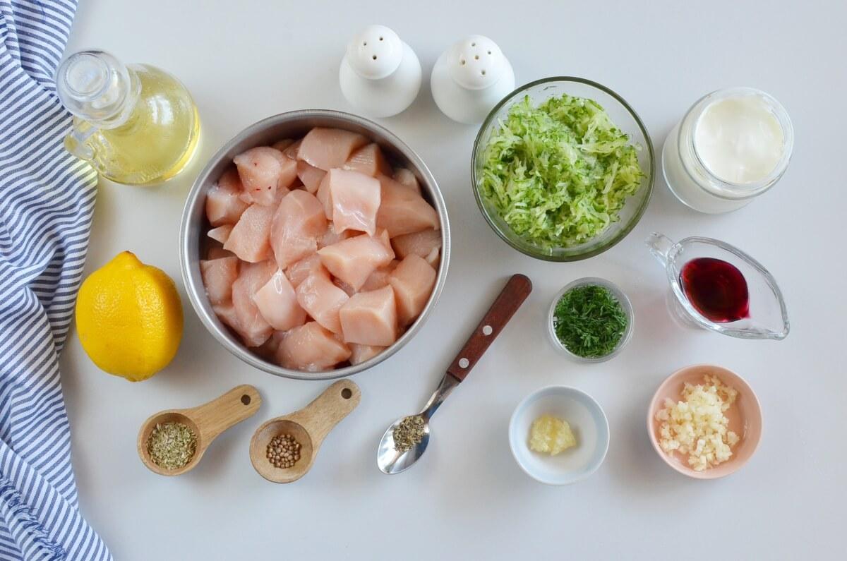 Ingridiens for Greek Lemon Chicken Skewers with Tzatziki