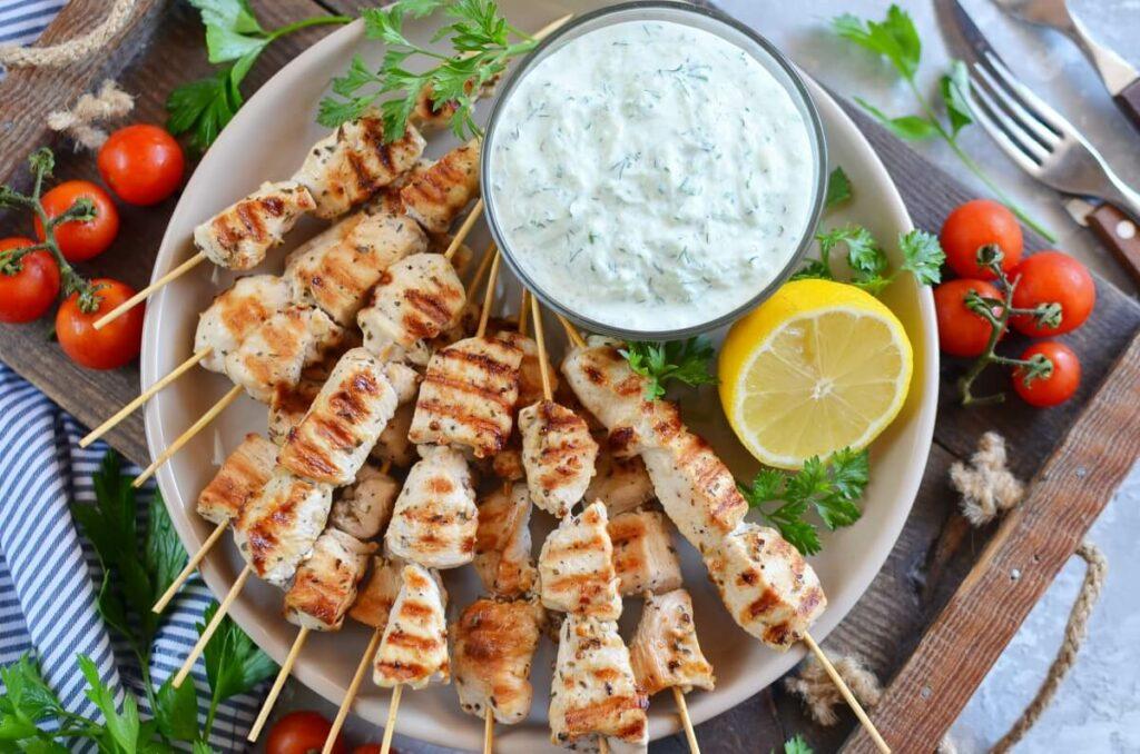 How to serve Greek Lemon Chicken Skewers with Tzatziki