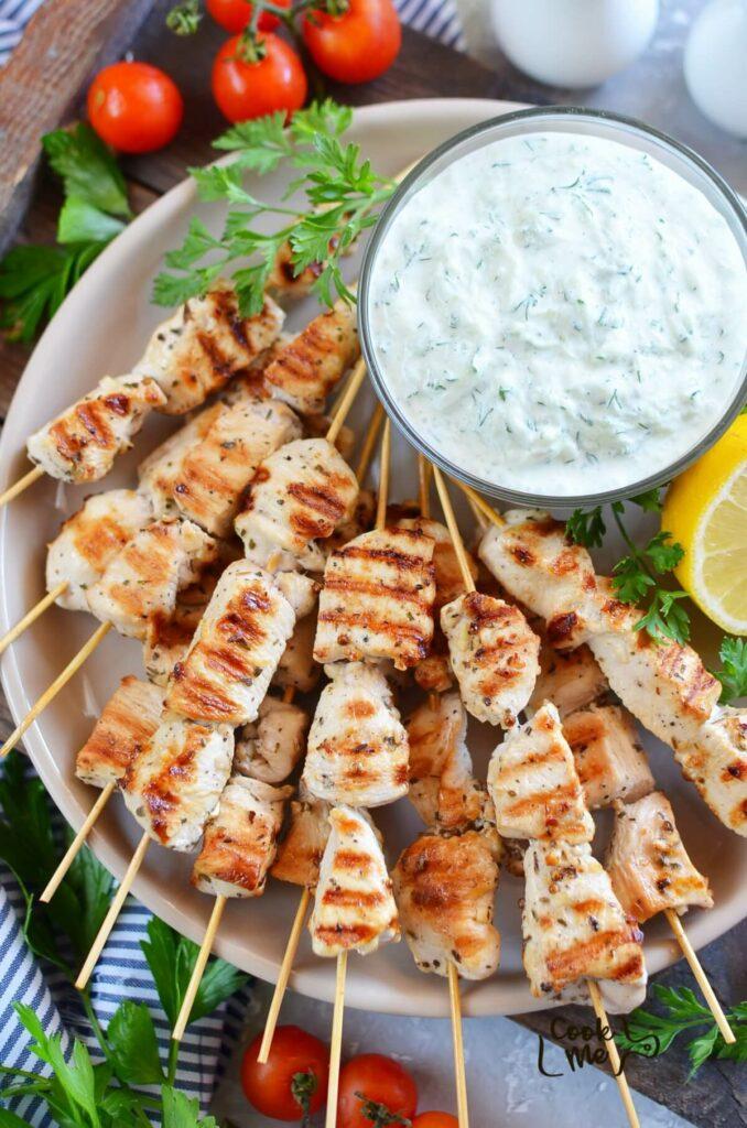 Greek Lemon Chicken Skewers with Tzatziki