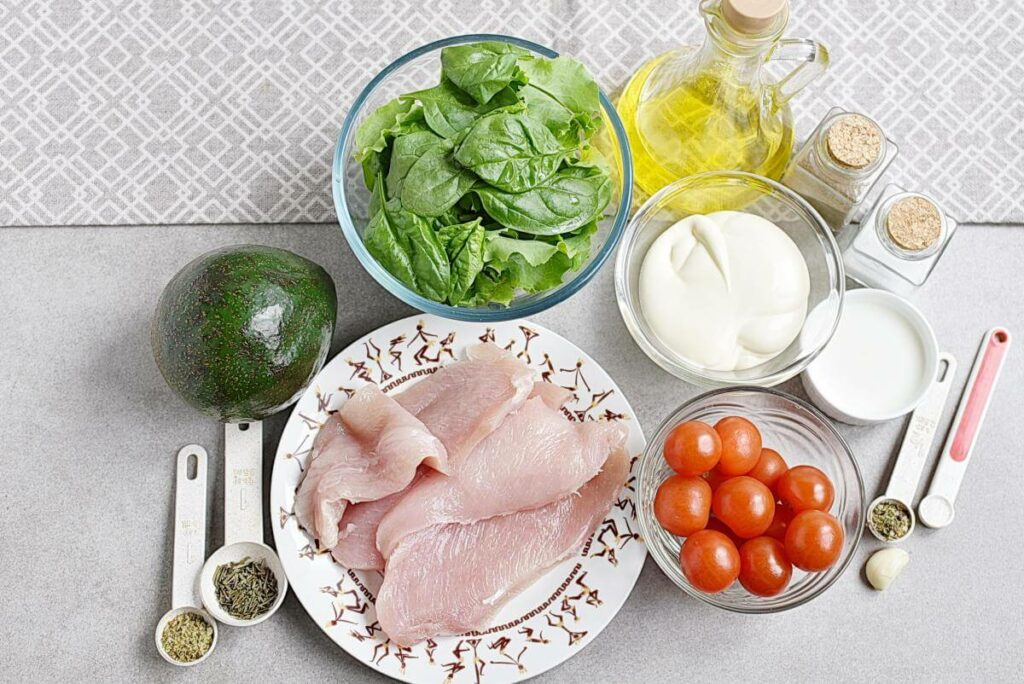 Ingridiens for Grilled Chicken Salad with Creamy Dressing