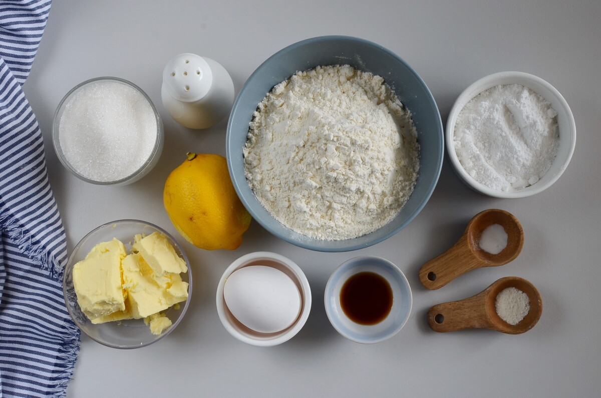 Ingridiens for Lemon Crinkle Cookies