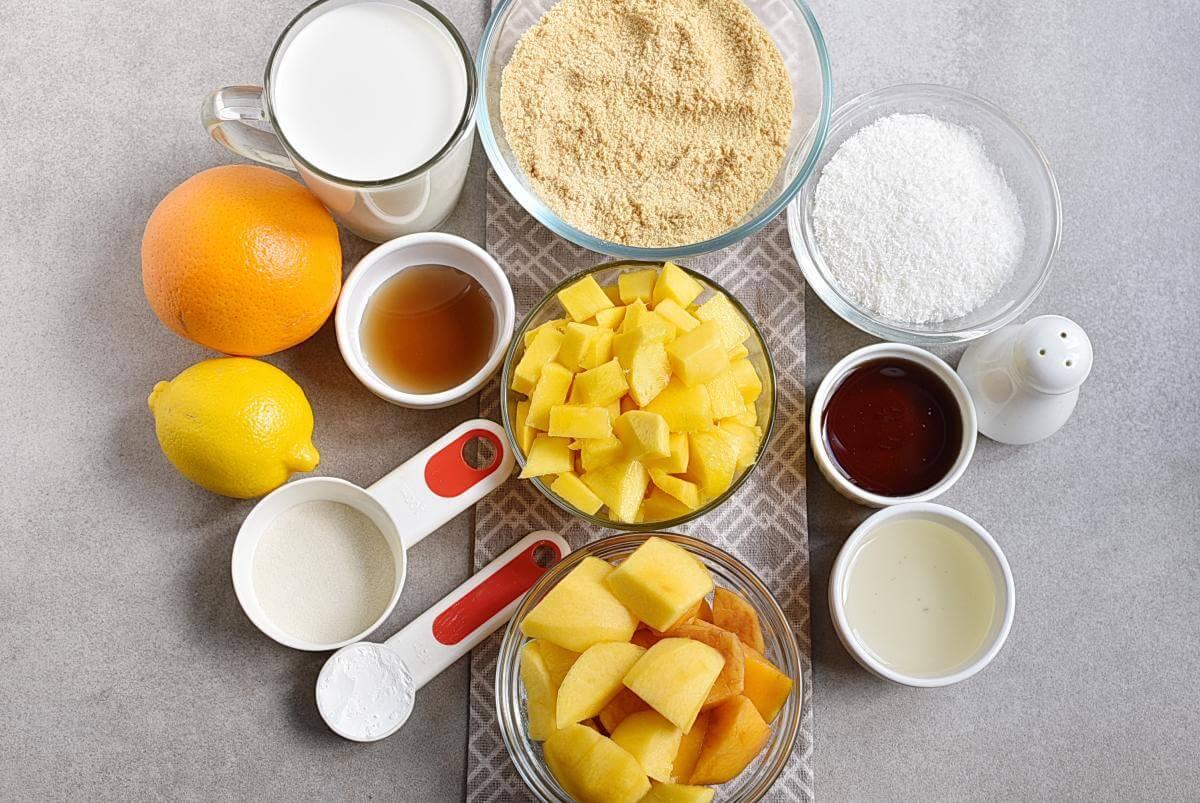 Ingridiens for No-Bake Peach and Mango Tart