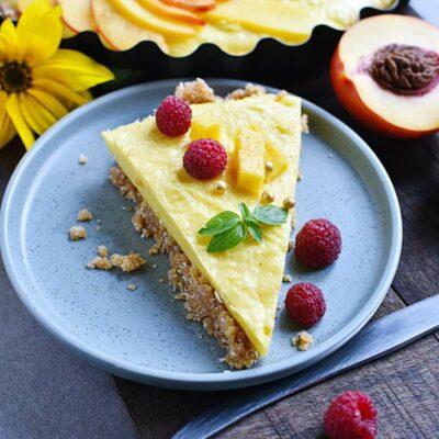 No-Bake Peach and Mango Tart Recipes– Homemade No-Bake Peach and Mango Tart–Easy No-Bake Peach and Mango Tart