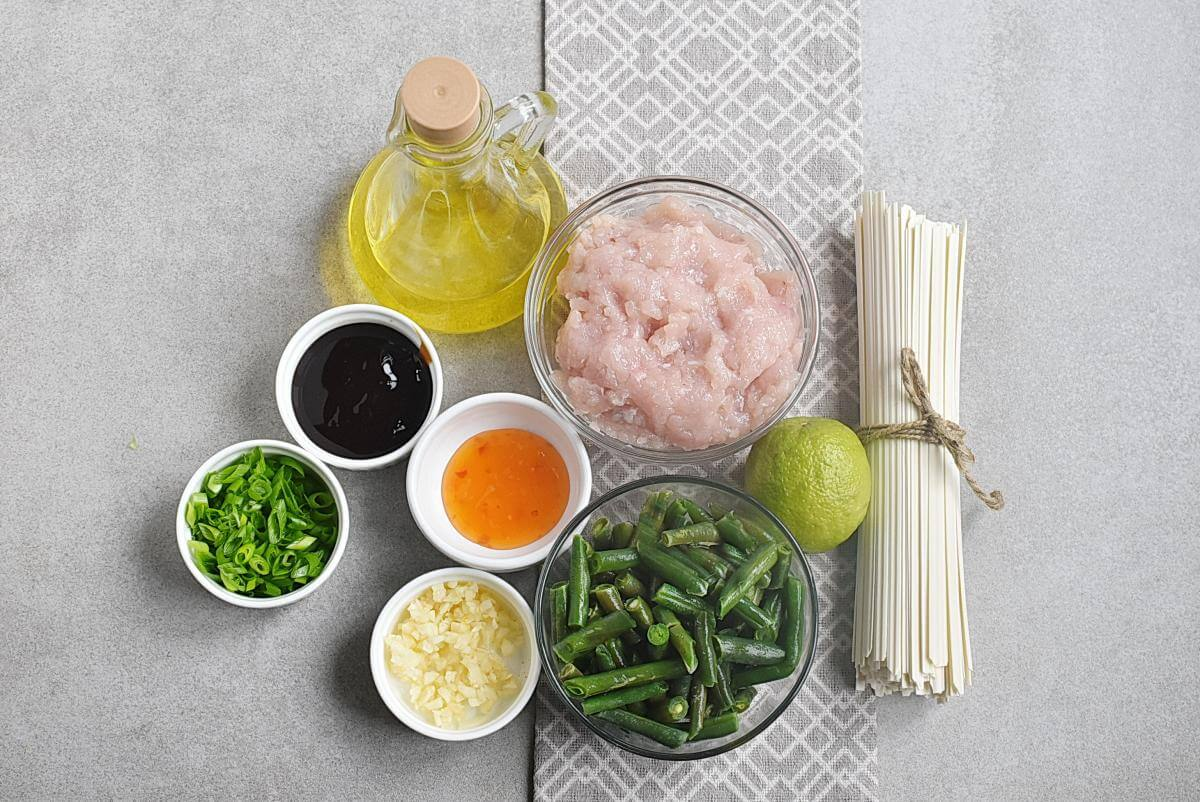 Ingridiens for Noodles with Turkey, Green Beans and Hoisin
