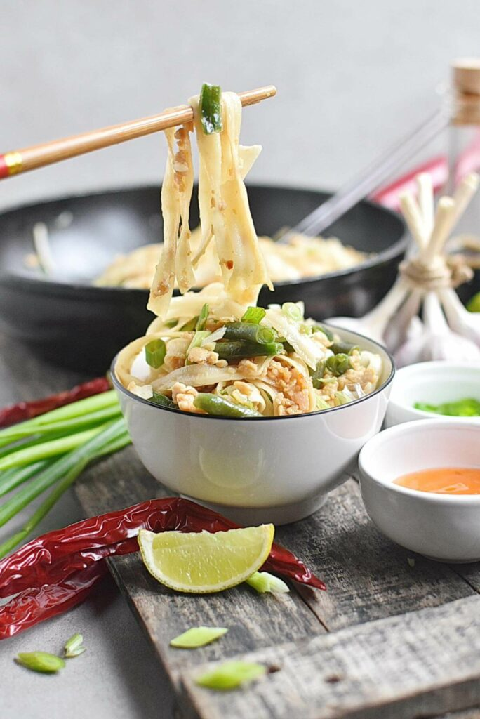 Noodles with Turkey, Green Beans and Hoisin