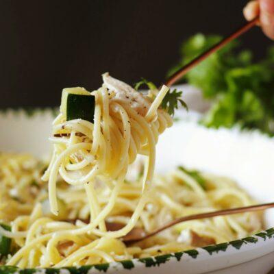 Pasta with Zucchini Recipe-Zucchini Pasta Recipe-Pasta with Zucchini and Chicken