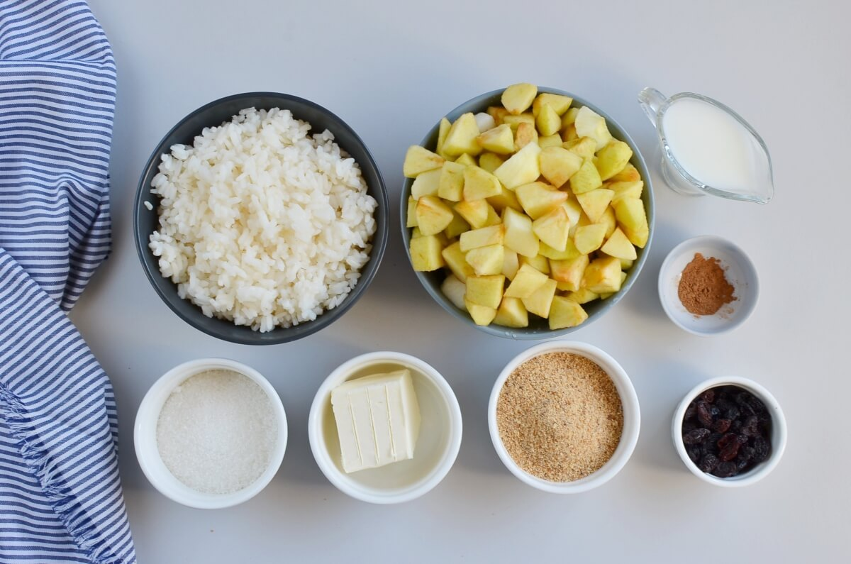 Ingridiens for Apple Rice Pudding