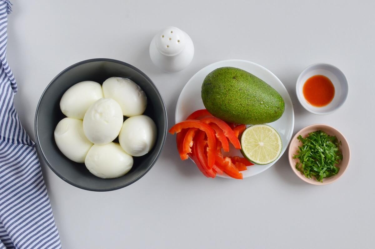 Ingridiens for Devilish Avocado Sriracha Deviled Eggs