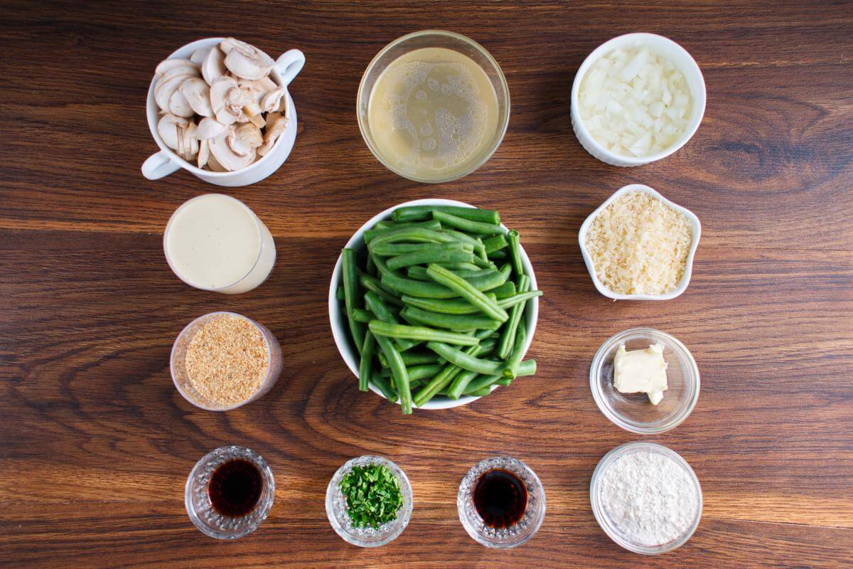 Ingridiens for Green Bean Casserole from Scratch