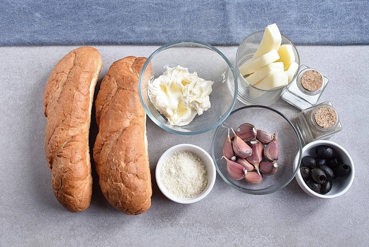 Ingridiens for Mummified Garlic Bread