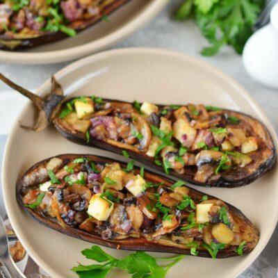 Mushroom-Stuffed Eggplant Recipe-How To Make Mushroom-Stuffed Eggplant-Delicious Mushroom-Stuffed Eggplant