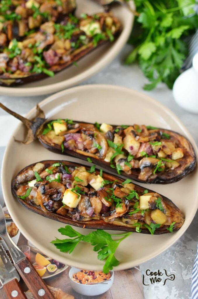 Mushroom-Stuffed Eggplant