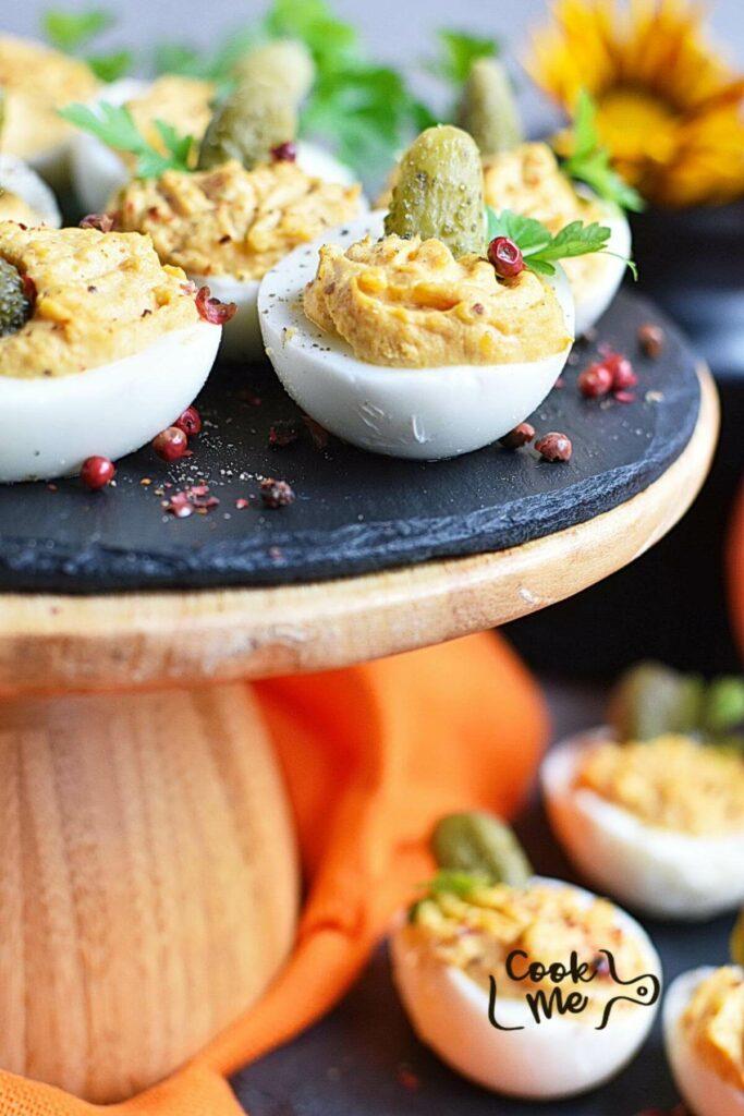 Smokey Pumpkin Deviled Eggs