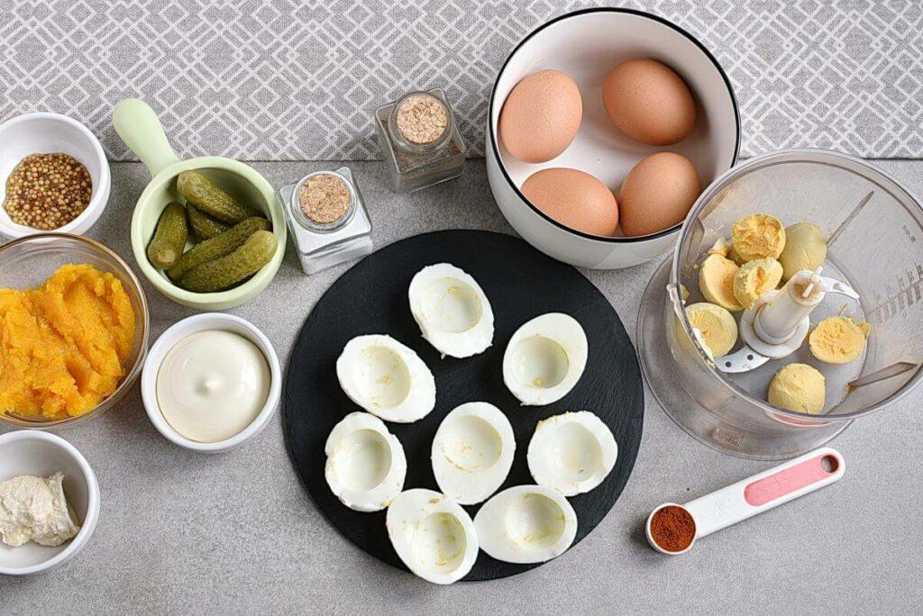 Smokey Pumpkin Deviled Eggs recipe - step 1